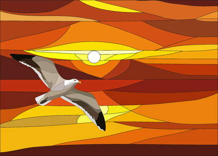 Illustration of sunset with clouds and bird in stained glass window.