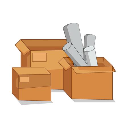 storage compartment: cardboard box vector cartoon  icon  open