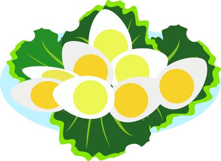 boiled eggs on a plate vector cartoon icon Illustration