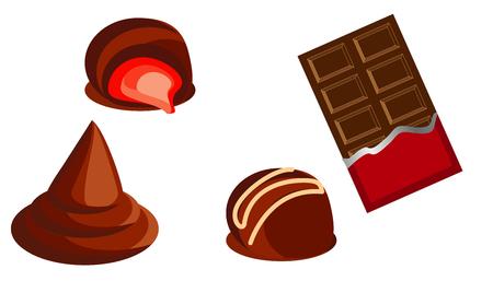 sweet chocolate sweets and chocolate bars vector