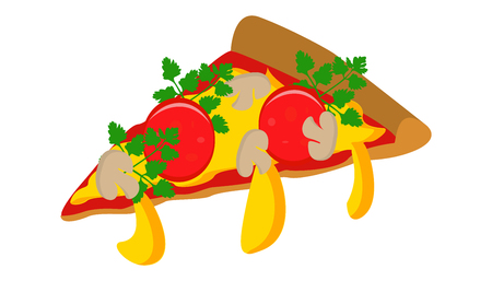 piece of pizza with cheese sausage and mushrooms vector