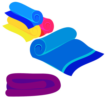 multicolored towels stacked in different ways vectort icon