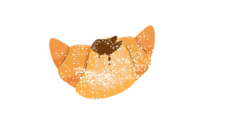 croissant with chocolate and powder on a white background vector