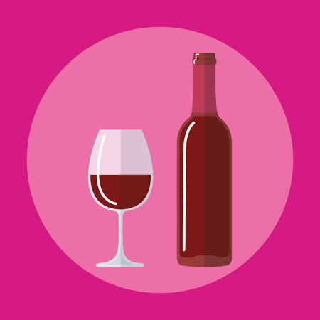 flat icon bottle of wine, glass of beer
