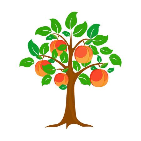 Baum eines Pfirsiches. Vektordesign, Hintergrund, Symbol, Zusammenfassung, Ikone, Element.