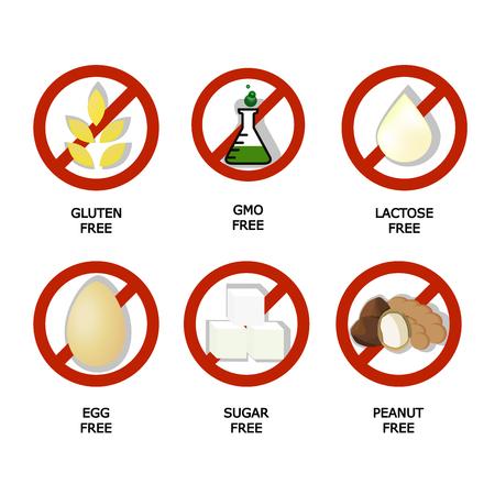 Set of food dietary symbol, icon, sign, set, label