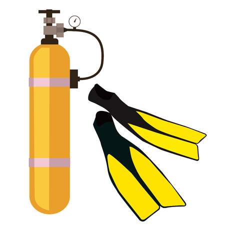 An oxygen balloon, fins, aqualung, swimming, water, diving.