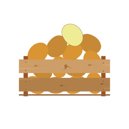 Box with potatoes, wooden, fruits, fresh, natural, vector. Banque d'images - 95002052