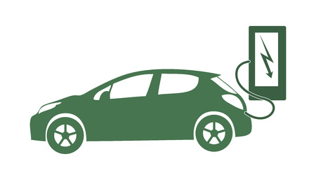 Electric vehicle icon vector ecology nature energy protection