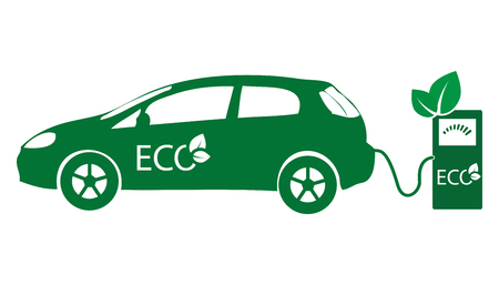 Electric vehicle icon vector ecology nature energy protection. Illustration