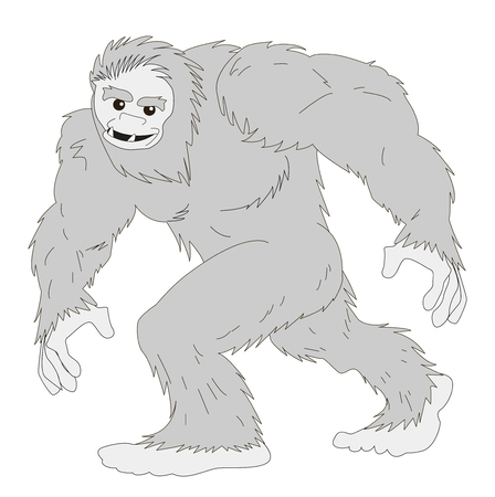 Yeti, the snowman runs cheerful and kind. Illustration