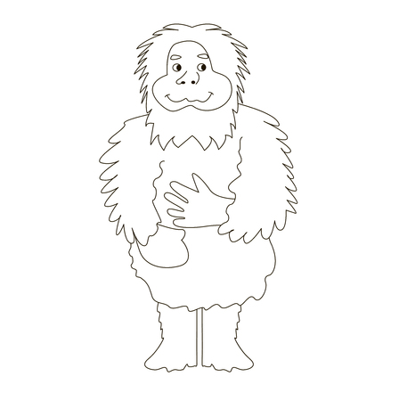 Yeti, the snowman runs cheerful and kind. Vector