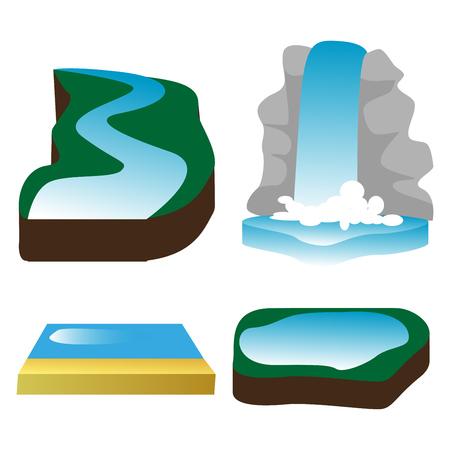 waterfall, river, lake, water, nature, sea, ocean.