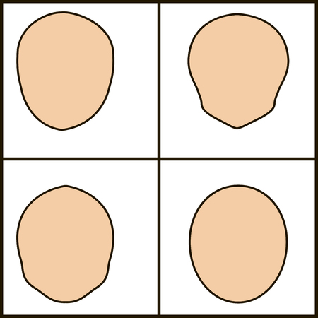 different forms of face, vector icoka. chiseled outline.