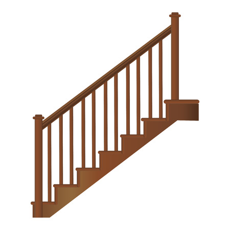 Wooden staircase with handrails and steps, realistic vector on a white background