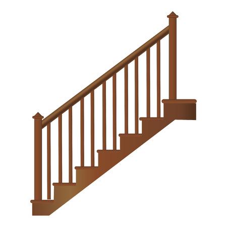 Escalera de madera con pasamanos y escalones, vector realista sobre un fondo blanco. Ilustración de vector