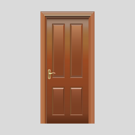 Portes en bois avec vecteur réaliste de verre plug-in Vecteurs