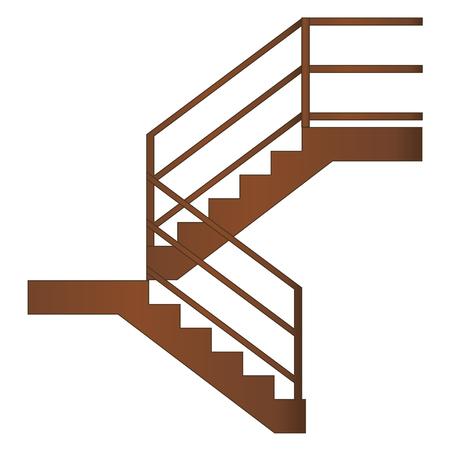Escalier en bois avec mains courantes et marches, vecteur réaliste sur fond blanc