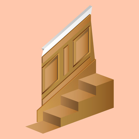 wooden wall panel for the house with steps realistic