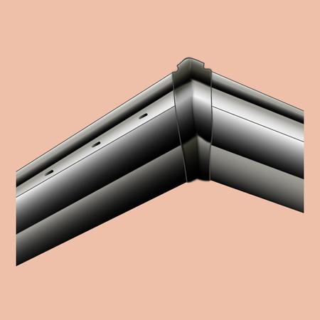 Gutter plastic black angled real-life vector outdoor Stock Illustratie