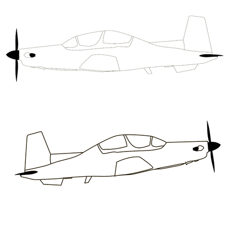 airplane icon, black and white vector, coloring Stock Illustratie