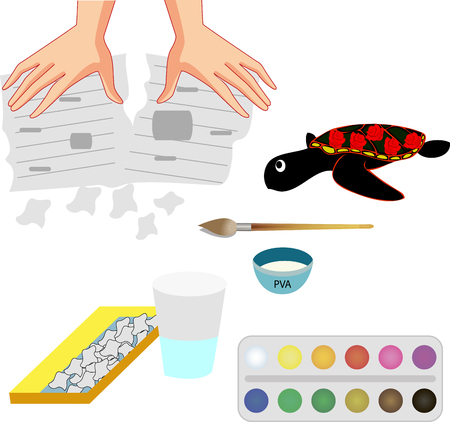 Papier mache handicraft, paper products. The scheme of work for children and adults.