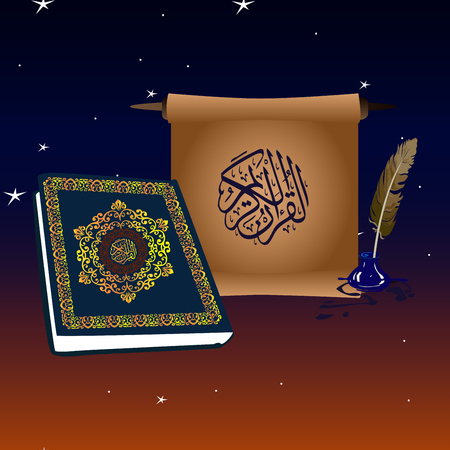 Book of quran and scroll in the night sky with stars and the month
