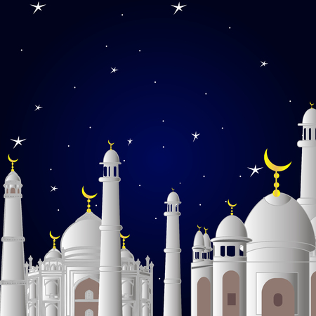 mosque in front of ramadan. at sunset with the stars. and the moon