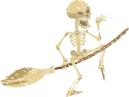 The cheerful skeleton flies on a broomstick in heloin and waves a hand