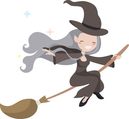 Beautiful witch flies on a broomstick in Halloween