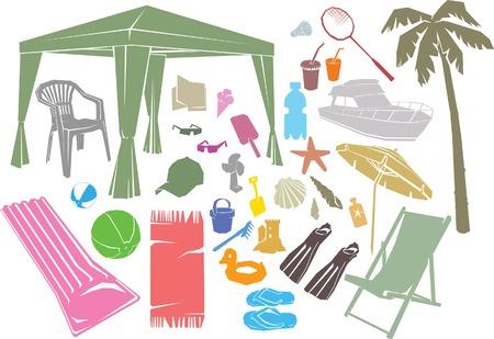 sun lotion: Un conjunto de playa de verano de los elementos de dise�o vectorial.