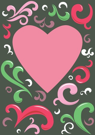 Heart with ornaments in background. Illustration