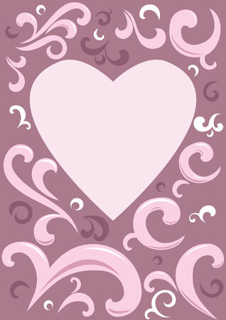 Heart with ornaments in background. Vector
