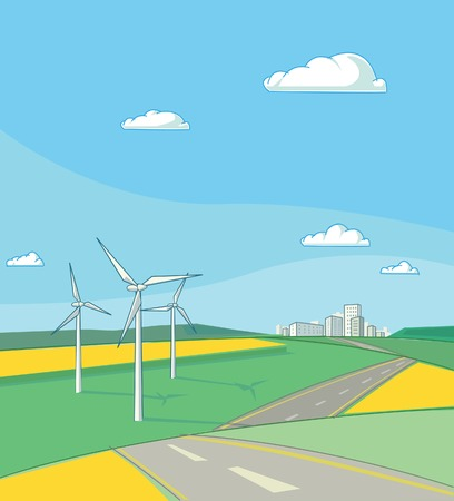 Landscape with fields of blossoming rapeseed, wind generators, road and city at the horizon. Illustration