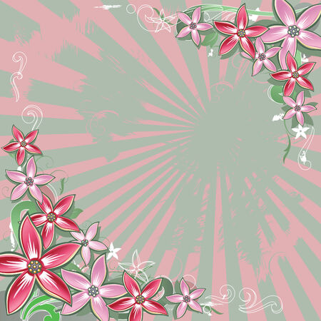Square floral background with space for text. Illustration