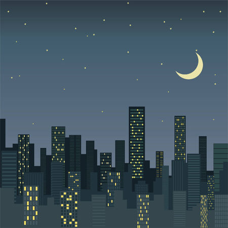 megapolis: city at night, vector background