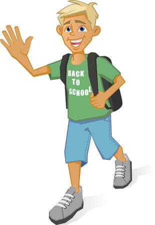 Boy going to school Illustration