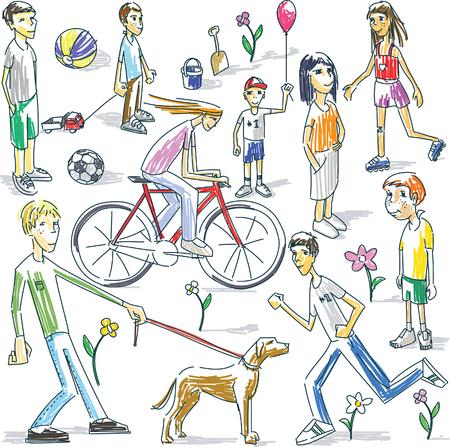Vector illustration of playing children