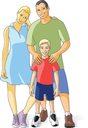 Happy young family Vector