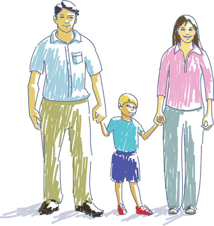 Happy family, parents with child. Illustration
