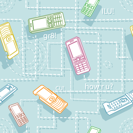 Mobile Phones Seamless Texture Cartoon Style Illustration