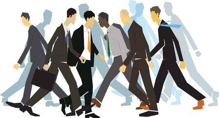 Businessmen hurrying on city street