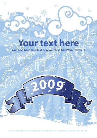 Christmas design on the blue background. Vector illustration Eps8.