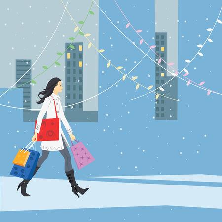 Illustration of a girl doing her Christmas shopping. Vector