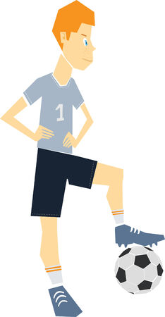 Illustration of a Red Haired Boy with a Soccer Ball
