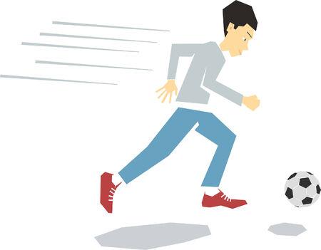 Boy running after soccer ball