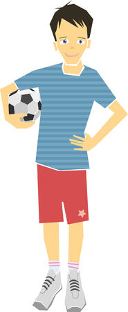 Boy Holding A Soccer Ball Illustration