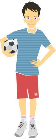 Boy Holding A Soccer Ball Illustration