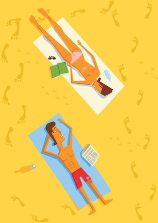 Man and Woman Lying in Sun on Beach Towels