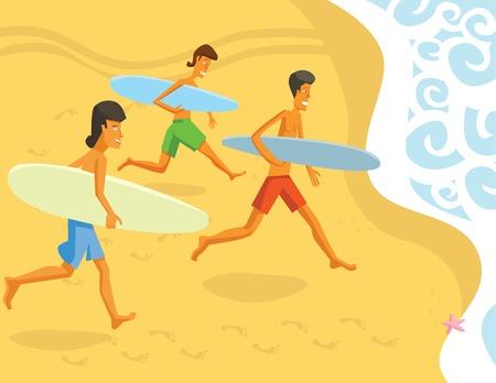 tallship: Group of Surfers Running Towards Waves Illustration